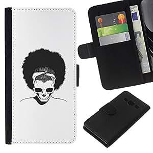 YiPhone /// Tirón de la caja Cartera de cuero con ranuras para tarjetas - Afro Cráneo - Samsung Galaxy A3