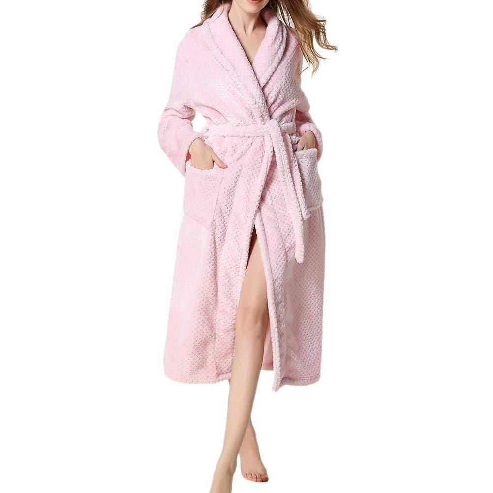 db3c916ab5d4a Col Châle pour Hommes Et pour Femmes Gaufre Corail en Molleton Flanelle  Peignoir Matin Basic Kimono ...