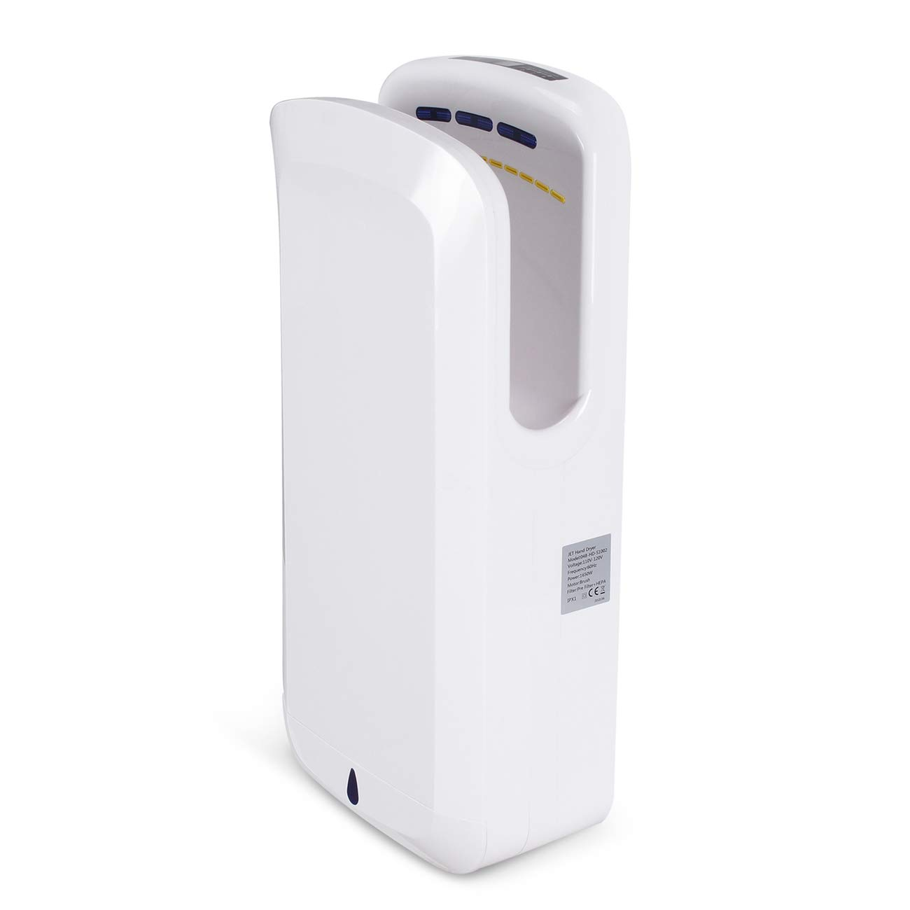ARKSEN Electric Hand Dryer 100m/s, Commercial Bathroom and Kitchen, Brushless Motor 1650W, ABS Material, White