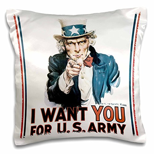 Vintage Uncle Sam - 3dRose pc_108756_1 Vintage Uncle Sam I Want You for The Army-Pillow Case, 16 by 16