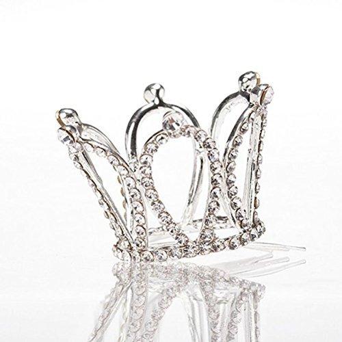 - Tinksky Flower Girl Rhinestone Crown Teardrop Tiara Headband with Silver Hair Comb Clip