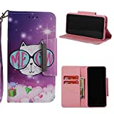 Leather Wallet Case for Samsung Galaxy A8 2018,Shinyzone Cute Cartoon Animal Cat Painted Pattern Flip Stand Case,Wristlet & Metal Magnetic Closure Protective Cover