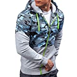 ZUEVI Men's Fit Sweatshirts Air Force Camo Color Block Zip up Lightweight Hoodie Sport Outwear Jacket (Gray-L)