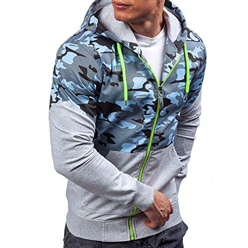 ZUEVI Men's Fit Sweatshirts Air Force Camo Color Block Zip up Lightweight Hoodie Sport Outwear Jacket ()