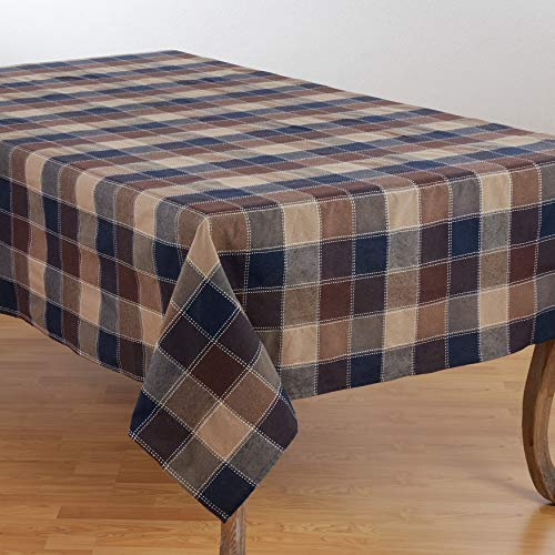 SARO LIFESTYLE 8571.BR70104B Harvest Collection Cotton Blend Tablecloth With Stitched Plaid Design 70