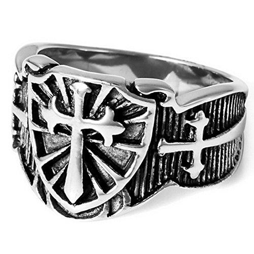 INBLUE Men's Stainless Steel Ring Silver Tone Black Celtic Medieval Cross Sword Shield Size9 - Celtic Cross Ring Mens