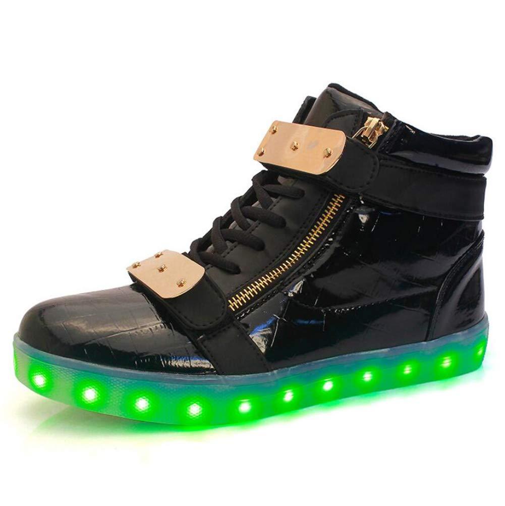 MhC Damenschuhe PU (Polyurethan) Frühling/Herbst Komfort/Light up Schuhe Turnschuhe Laufschuhe Flache Ferse LED Weiß/Schwarz