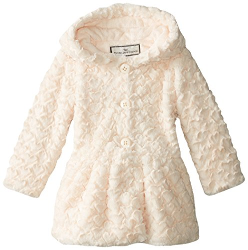 Widgeon Little Girls' Button Front Faux Fur Coat, Heart Ivory, 6X by Widgeon