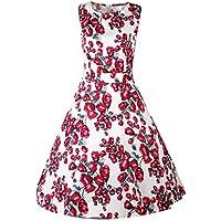 Costyleen vestido con cinturón, sin manga, para fiesta, con cuello de ojal, estilo de 1950, con estampado floral, para mujer