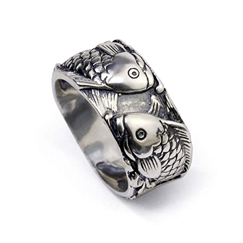 XJYA Los Hombres de Plata tailandesa Tide Ring Personalidad Retro 925 Anillo de Plata del Amor del pez para Enviar Regalos niñas, Narrow Edition Port Number ...