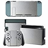 CARBON FIBER Nintendo Switch Controller Cover Skin Set for Console Dock Joy Con Vinyl Decal Sticker Protector (Silver) by BR Review