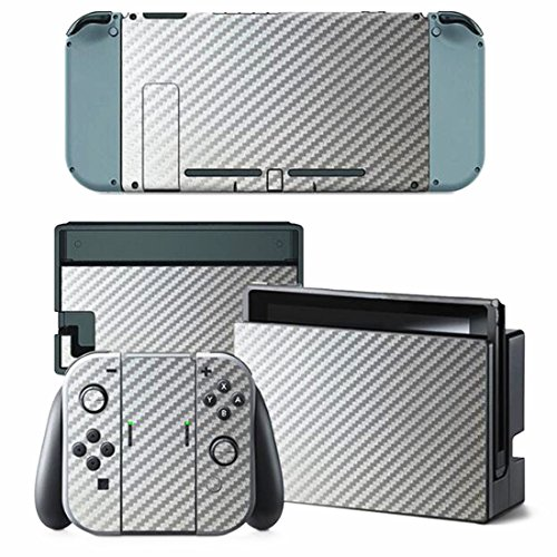 CARBON FIBER Nintendo Switch Controller Cover Skin Set for Console Dock Joy Con Vinyl Decal Sticker Protector (Silver) by BR