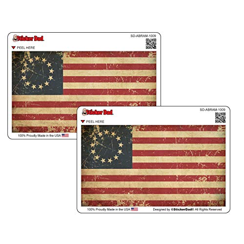 (2 Pack) Aged Betsy Ross 13 Stars American Flag (ABRAF-1009) Full Color Printed Sticker by StickerDad - Size: 5