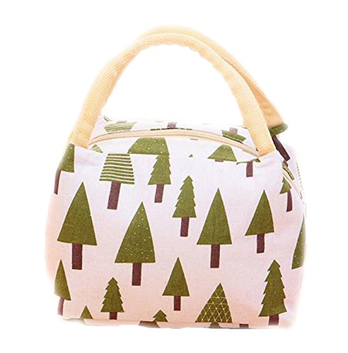 A Little Lemon Cute Reusable Cotton Lunch Bag Insulated Lunch Tote Soft Bento Cooler Bag (Pine Tree)