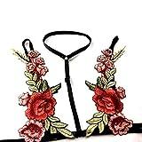 Woman Lingerie Set Plus Size Lace Halter Bodysuit Sexy Floral Embroidered Underwear(M,Black)