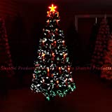 4ft - 120cm LED Fibre Optic Christmas Tree Pre-Lit Xmas Decoration with Candle & Bow