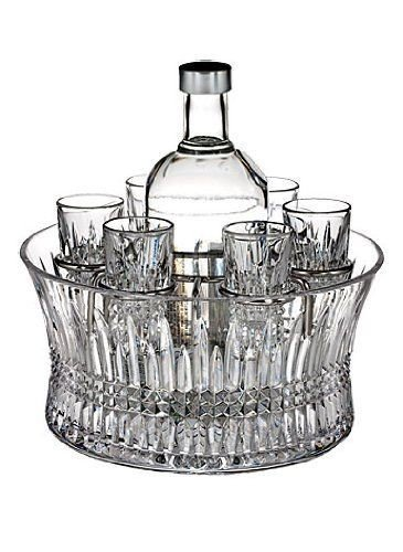 Stkertools(TM) Waterford Crystal Lismore Diamond Vodka Set in Chill Bowl with Silver Insert ()