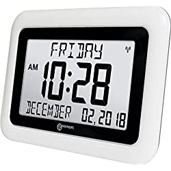 Geemarc Extra Large Alzheimers Day Clock - Ideal For People With Dementia Or Alzheimer's - Clear Atomic Non Abbreviated Display Of Time, Day, Date, Month, Year - Easy To Read Wall Clock - Auto Set Up