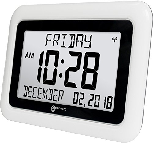 Viso10 -Extra Large (8½ inch) -Atomic Clock - (Battery Operated with NO Back Light, NO Trailing Wires)- Clear Big Letter Full Text Display - for ...