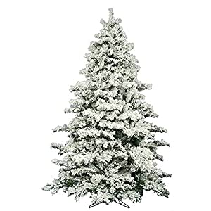 AMERIQUE 691322309737 7 FEET Premium Artificial Full Body Shape Christmas Tree with Metal Stand, Heavily Flocked Snow, Unlit, 7', Snowy 55