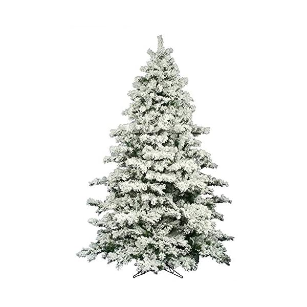 AMERIQUE-691322309737-7-FEET-Premium-Artificial-Full-Body-Shape-Christmas-Tree-with-Metal-Stand-Heavily-Flocked-Snow-Unlit-7-Snowy