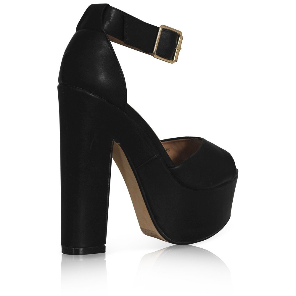 ded1bbc0b5c NEW WOMENS LADIES ANKLE STRAP PLATFORM CHUNKY HIGH HEEL SANDALS SHOES SIZE  3-8