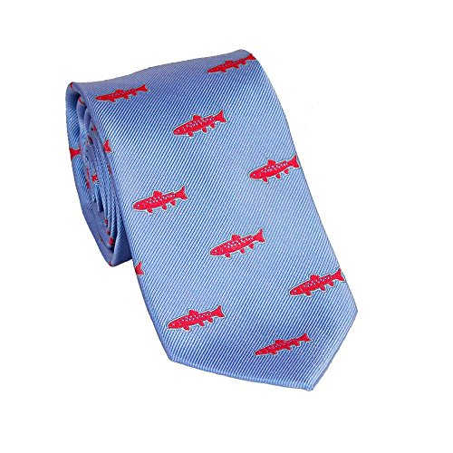 SummerTies Trout Necktie - Light Blue, Woven Silk, Standard Length -