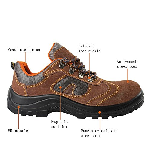 Optimal Toe Safety Steel Shoes Comp Shoes Brown Work Shoes Men's Fq5nxwq0rY