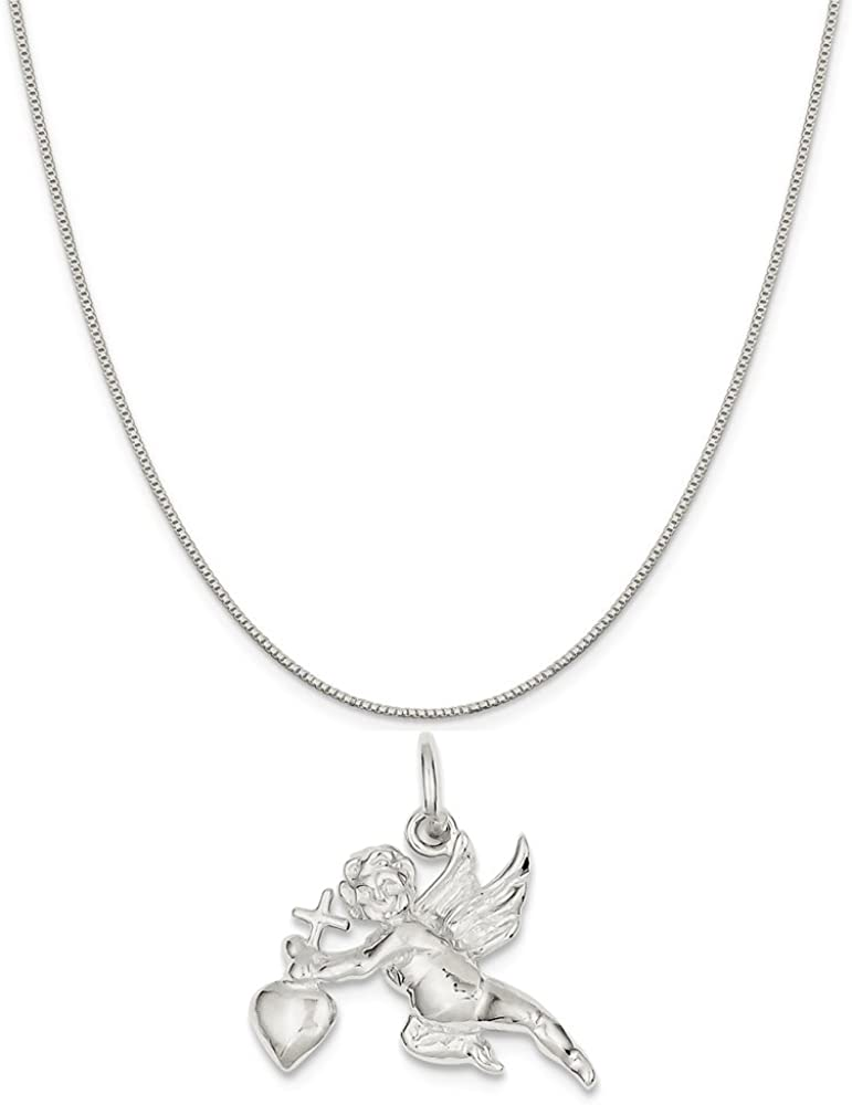 16-20 Mireval Sterling Silver Cupid Charm on a Sterling Silver Chain Necklace
