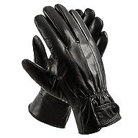 Guantes de conducción forrados de cuero genuino para hombres de Anccion, guantes de motocicleta, negro, grande