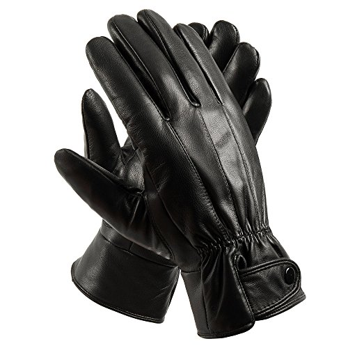 Anccion Men's Genuine Leather Warm Lined Driving Gloves, Motorcycle Gloves Black Large - Black Leather Riding Gloves