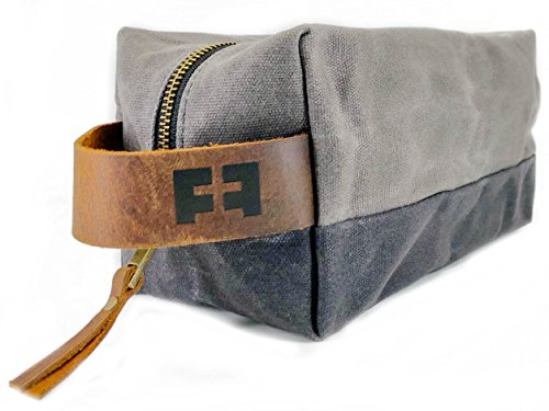 the DOPP KIT | waxed cotton canvas toiletry bag with leather handle (Cloud) by FAT FELT (Image #9)