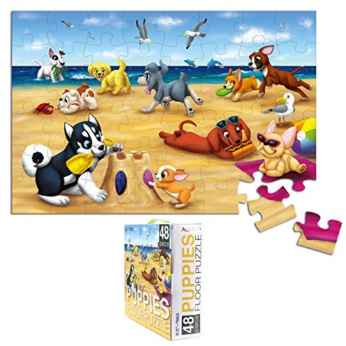 4 Floor On 100 Floors Halloween (Floor Puzzles for Kids - 48-Piece Giant Floor Puzzle, Puppies on The Beach Jumbo Jigsaw Puzzles for Toddlers Preschool, Toy Puzzles for Kids Ages 3-5, 2 x 3)