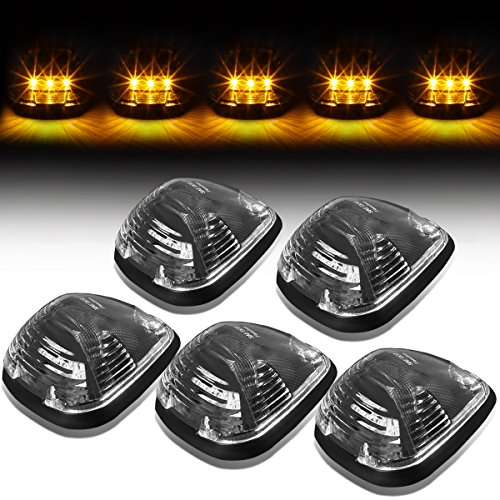(For Ford Superduty 5 X LED Cab Roof Top Lights + Wiring (Black Housing Yellow LED))