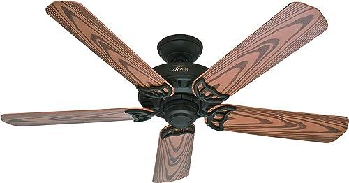 Hunter Indoor Outdoor Ceiling Fan, with pull chain control – Bridgeport 52 inch, New Bronze, 53126