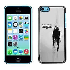 Caucho caso de Shell duro de la cubierta de accesorios de protección BY RAYDREAMMM - Apple iPhone 5C - Quote Mental Head Thought