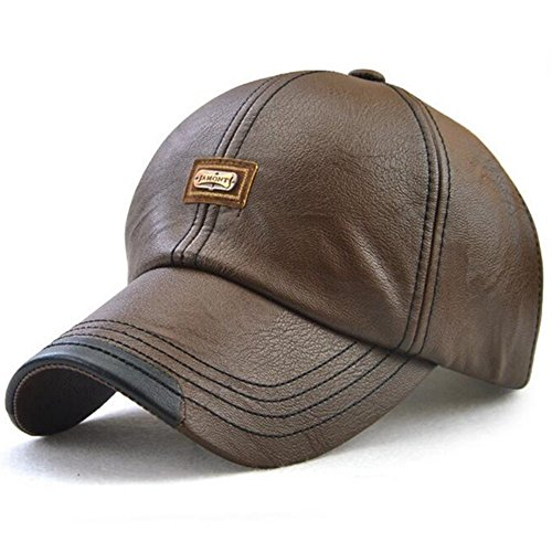 GESDY Men's Vintage Adjustable PU Leather Baseball Cap Outdoor Sports Driving Sun Hat, Light Coffee, 56-60cm ()