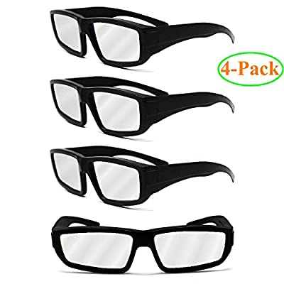 Double Couple 4-Pack Black Plastic Solar Eclipse Safety Glasses Goggles,CE & ISO Certified;Safe Eclipses Viewing Shades, Block Sun Ultraviolet UV Lights