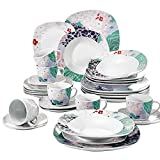 VEWEET 30-Piece Ceramic Dinnerware Set Square Splendor Plate Sets with Dinner Plate, Soup Plate, Dessert Plate, Saucer and Mug, Service for 6 (Olina Series) For Sale