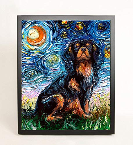 - Ready to hang Art Cavalier King Charles Spaniel Starry Night Dog Black Framed CANVAS print by Aja cute pup artwork Choose from 8x10, 11x14, 16x20, 20x24, 22x28, 24x30, and 30x38