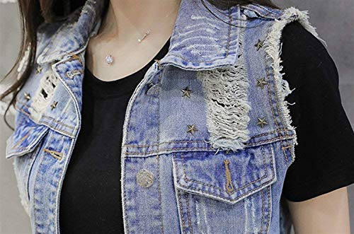 Giacche Strappato Jeans Con Casual Blau Confortevole Giacca Cappotto Autunno Donna Button Festa Outerwear Di Primaverile Gilet Moda Smanicato Elegante Style Tasche Ragazze A6qqdwP
