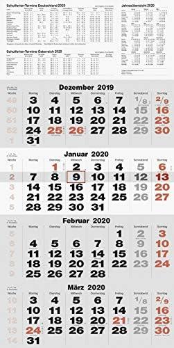 rido/idé 7033420 Wandkalender/Vier-Monats-Kalender quattroplan 2 (1 Blatt = 4 Monate, 330 x 635 mm, Kalendarium 2020)