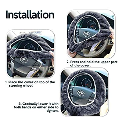 Zone Tech Non-Slip Car Decoration Steering Wheel Plush Cover – Auto Comfortable Thermal Gray Steering Wheel Cover: Automotive