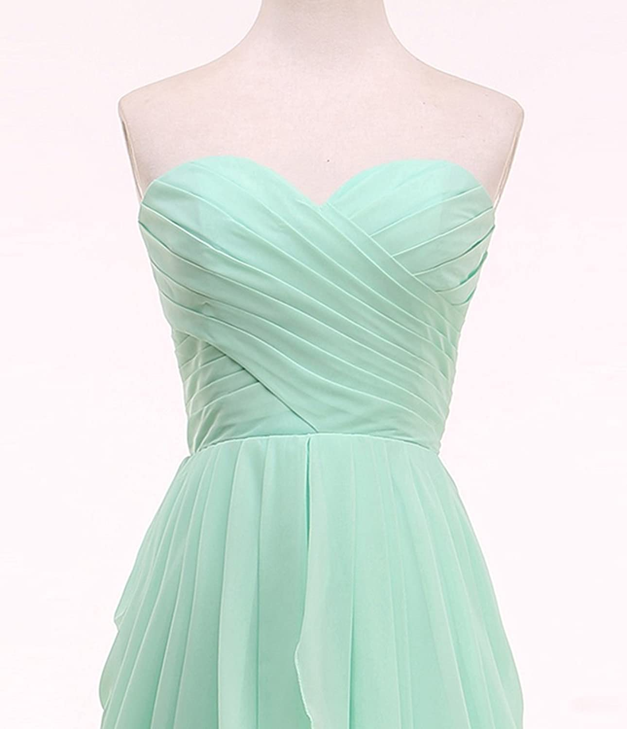 KekeHouse? Sweetheart Ruffles Knee Long Bridesmaid Dress Backless Short Prom Gown Pleated Mother Daughter Flower Girl's Dress