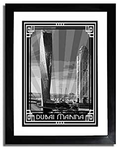 Dubai Marina- Black And White With Silver Border F07-nm (a3) - Framed