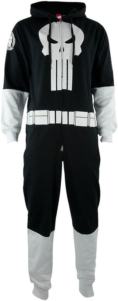 Adult Men/'s Marvel Comics The Punisher Pajama Hooded Zip Costume Jumpsuit