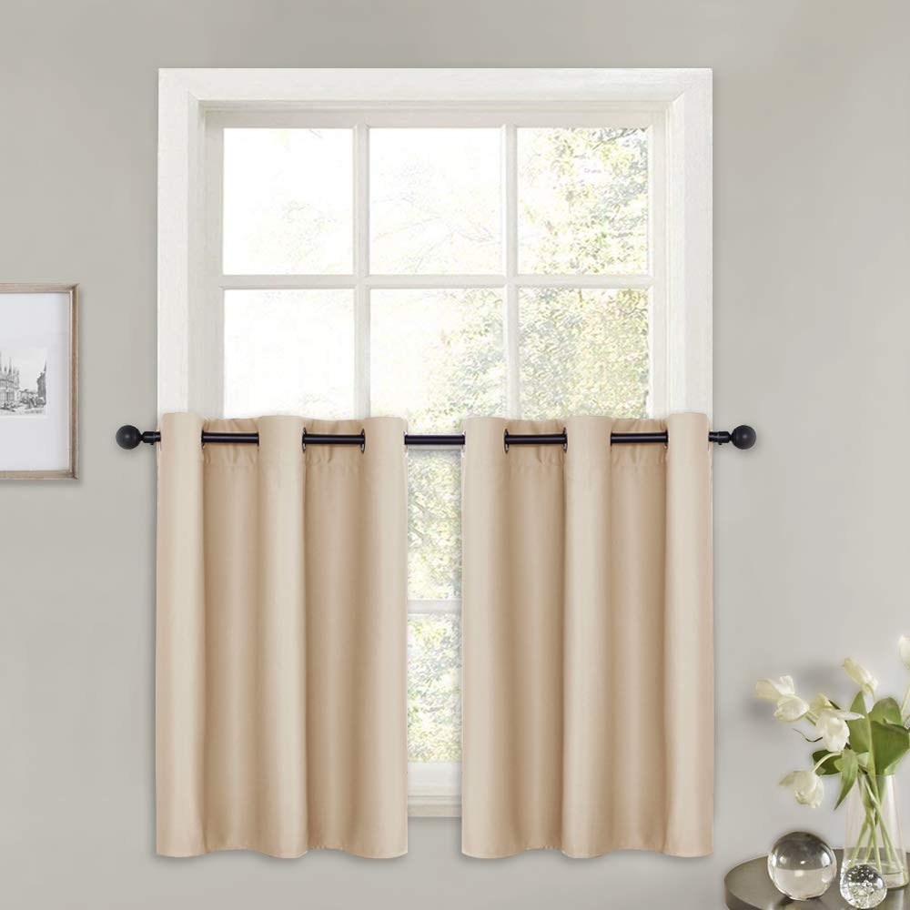 Valances Window Treatments PONY DANCE Window Curtain Valances - Kitchen Tier Elegant Room Darkening Window  Treatments-Drapery with Grommet Top for Bathroom, 42 x 36 in, Biscotti  Beige ...