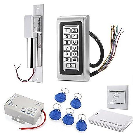 Sistema de seguridad, de control de acceso RFID Digicode teclado-Lector de tarjetas de proximidad Cerradura de pestillo para puerta eléctrica EM-ID tarjeta: ...