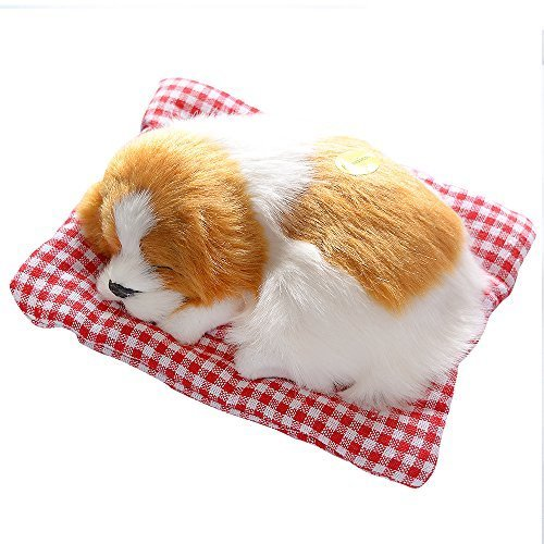 Toonol Vivid Simulation Plush Sleeping Dogs Doll Toy with Sound Kids Toy Birthday Gift Doll Decor Stuffed Puppies Toys Color Yellow & White ()