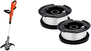BLACK+DECKER 20V MAX String Trimmer with Trimmer Line Replacement Spool, Autofeed 30 ft, 0.065-Inch, 2-Pack (LST300 & AF100-2)